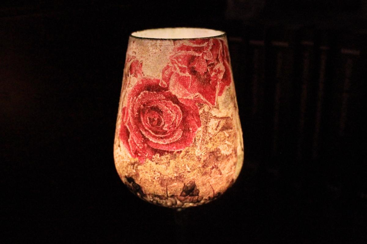 Χριστουγεννιατικο διακοσμητικο ποτηρι για ρεσω, με decoupage - 2